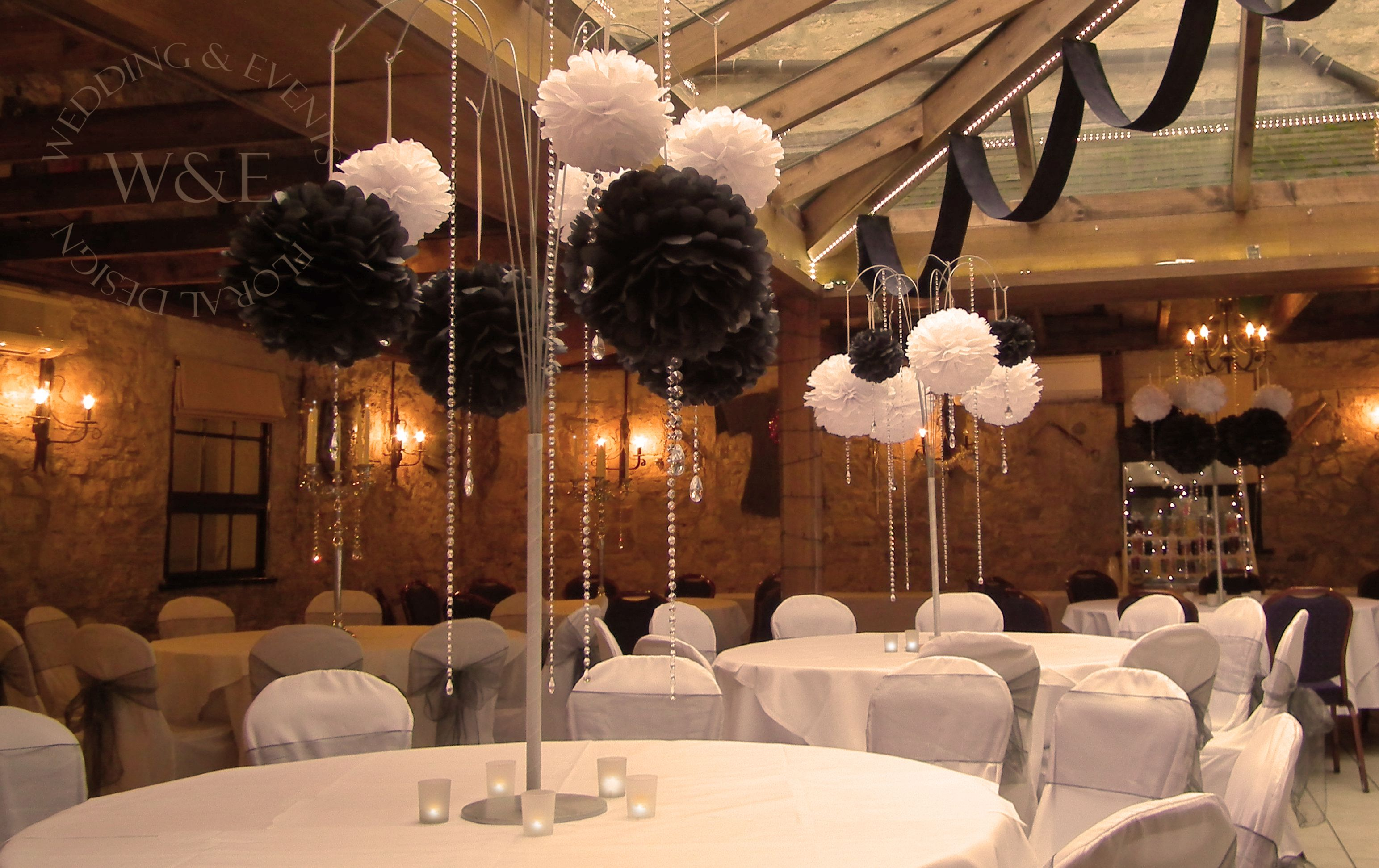fabulous black white pom poms with crystal droplets garlands hanging on our multi arm