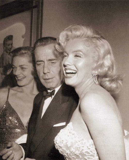 Marilyn Monroe with Lauren Bacall and Humphrey Bogart at the premier of How to Marry a Millionaire, 1953