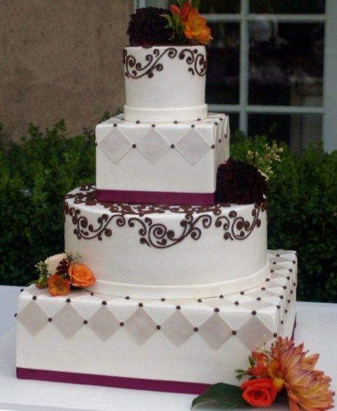 Chocolate Scrollwork U0026 Harlequin Wedding Cake