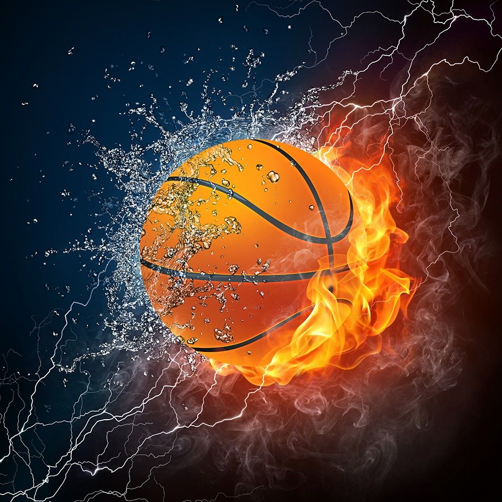 basketball wall mural sports basketball fire and ice combine to bring out the elements in. Black Bedroom Furniture Sets. Home Design Ideas