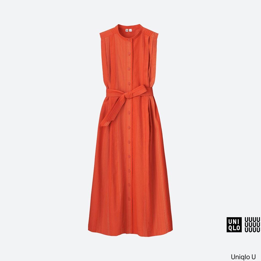 5dfd8f0ac5919 WOMEN Uniqlo U Seersucker Sleeveless Long Dress