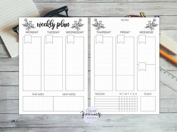 Weekly bullet journal printable - bullet journal pages, weekly planner, planner insert, dot grid journal, dotted planner, pre made journal