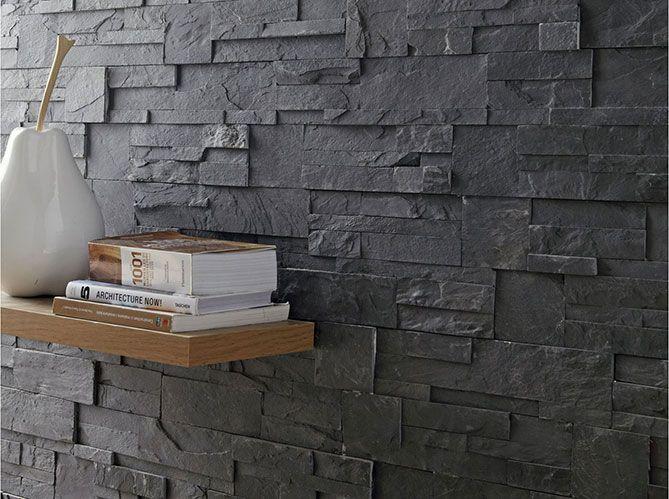 bel exemple de parement ardoise contraste avec tag re en. Black Bedroom Furniture Sets. Home Design Ideas
