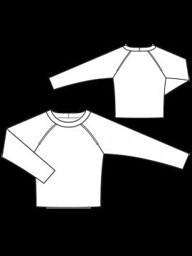 Burda 10/2016  Пуловер з рукавами реглан і кантами  № викрійки 114 A