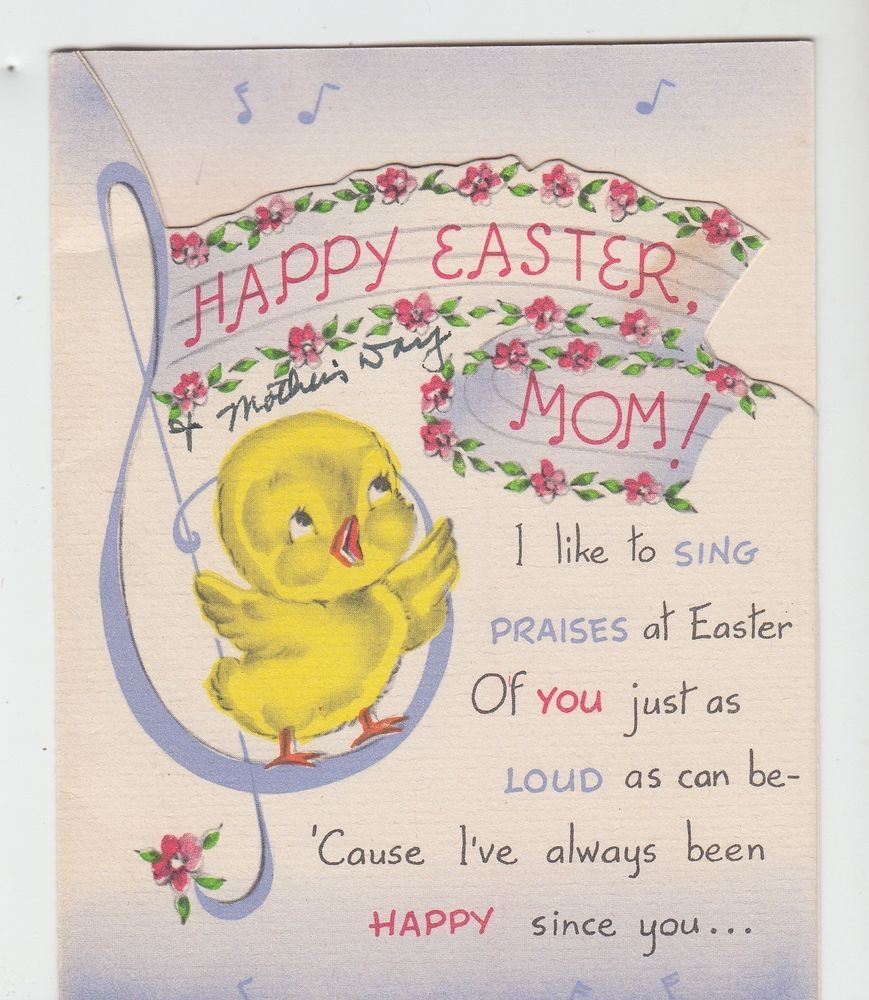 Vintage little chick singing on music note happy easter mom vintage little chick singing on music note happy easter mom greeting card kristyandbryce Choice Image