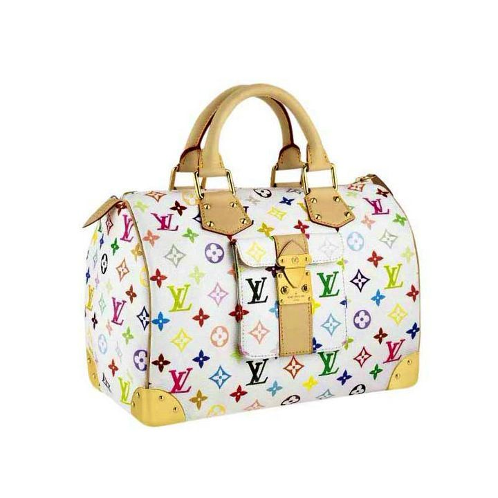 My first Louis Vuitton, multi-color Speedy 30 handbag in white ... 3a800463608
