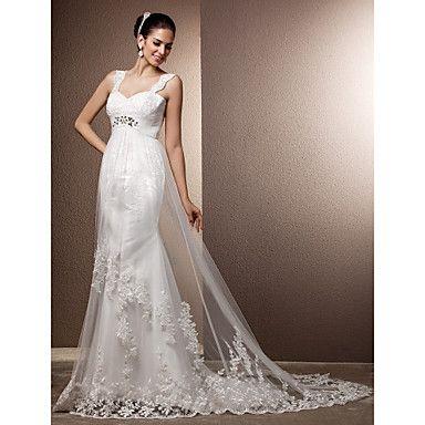 bainha / coluna tiras de trem tribunal vestido de noiva de tule – BRL R$ 349,86