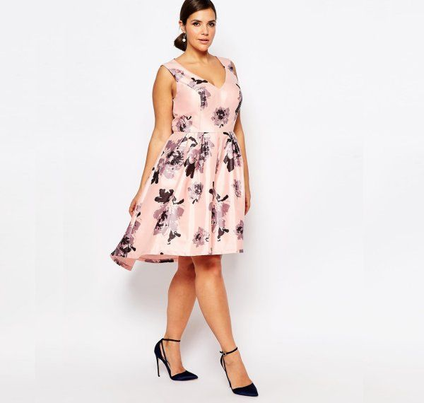 e50fdbd7878 13 Cute Plus Size Summer Dresses Which You Will Love  Cute plus size pink  floral high low midi summer dress with V-neck by Chi Chi London.
