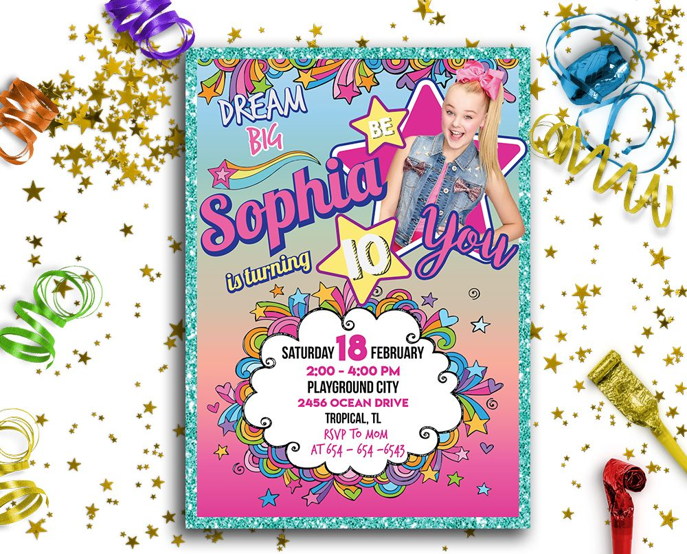 jojo siwa printable invitation  customized