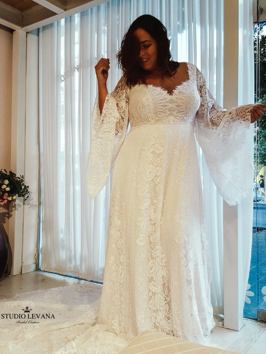 Bohemian Light Plus Size Wedding Dress With Impressive Bell Sleeves And Romantic Fren Bell Sleeve Wedding Dress Wedding Dress Organza Wedding Dress Long Sleeve [ 1182 x 887 Pixel ]