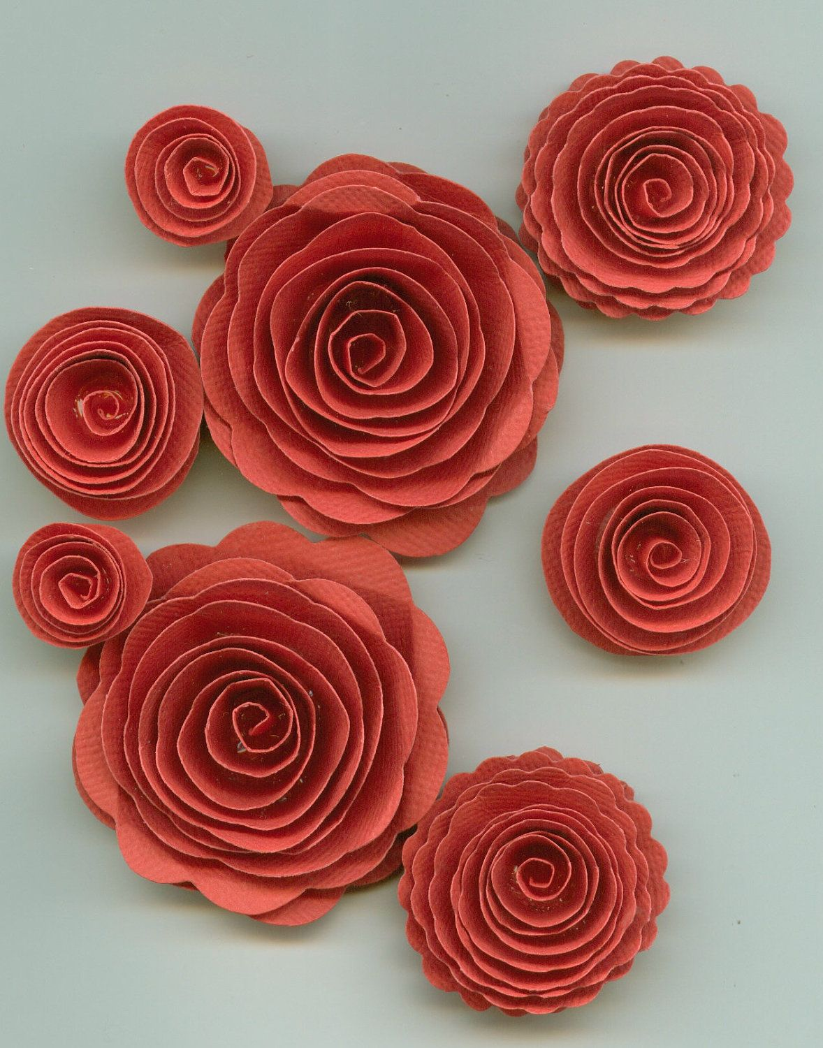 Pink Coral Rose Spiral Paper Flowers For Weddings Bouquets Events