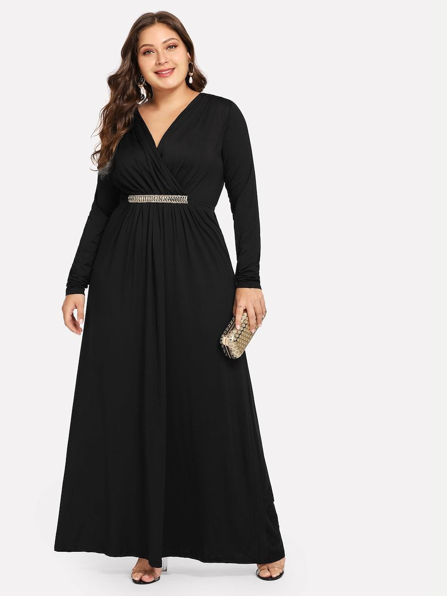 gran venta varios tipos de Buenos precios Plus Plicated V-Neck Dress -SheIn(Sheinside) | Vestidos ...
