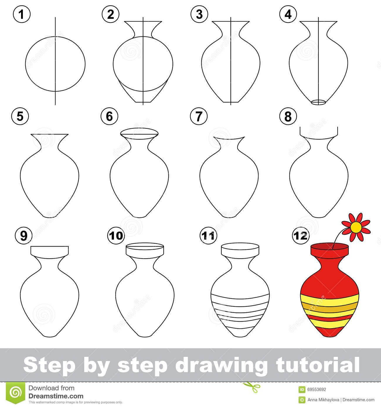 Drawing Tutorial For Children How To Draw The Vase With Flower Full Hd Painting