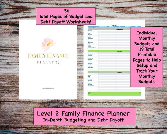 Level 2 Family Finance Planner Workbook/ Budget/ Monthly Planner