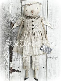 Primitive Snowman Doll Girl Dirty Snow Angel by VeenasMercantile