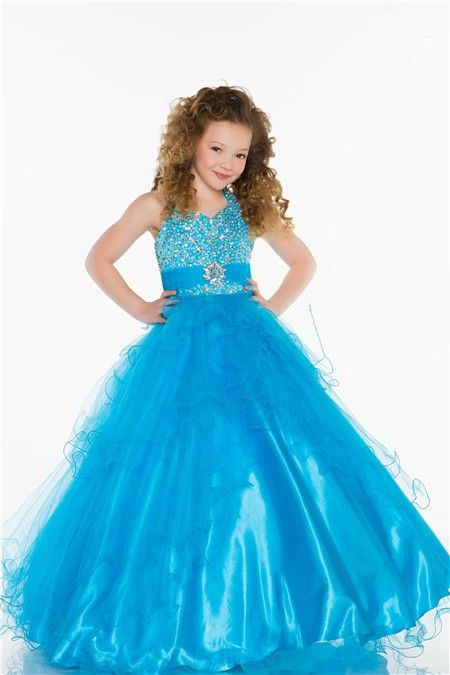 Ball Gown Halter Long Turquoise Tulle Beaded Little Flower Girl ...