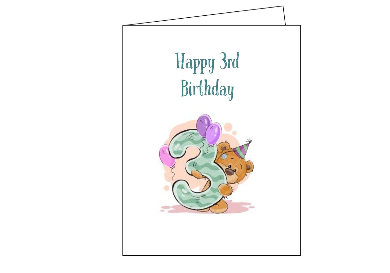 Happy Birthday Happy Birthday Card Birthday 3rd Birthday Etsy Birthday Cards Happy Birthday Cards 3rd Birthday