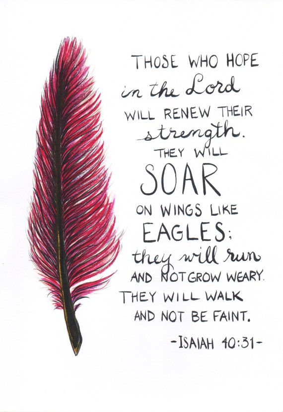 Bible Quotes About Strength Delectable Feather Painting Scripture Quote Isaiah 4031Craftystx On Etsy .