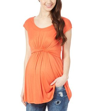 Another great find on #zulily! Coral Twist Maternity Scoop Neck Top by Mom & Co. #zulilyfinds