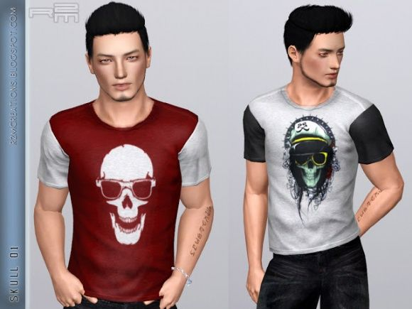Skull shirt for male at R2M Creations - Sims 3 Finds