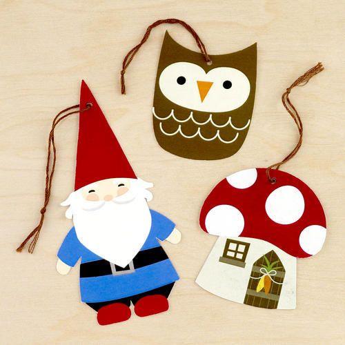 Kraft Gnome, Owl & Mushroom Gift Tags