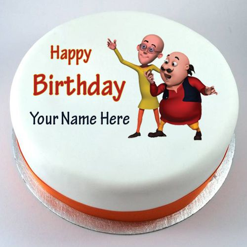 Happy Birthday Motu Patlu Cute Kids Cake With Your Nam Ranbir