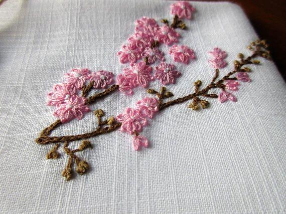 Cherry Blossom Hand Embroidered Handkerchief Pink Flower Embroidery Japanese Cherries Tree Spring Hankie Wedding Gift Botanical Motif Art Japanese Embroidery Embroidery Flowers Ribbon Embroidery Tutorial