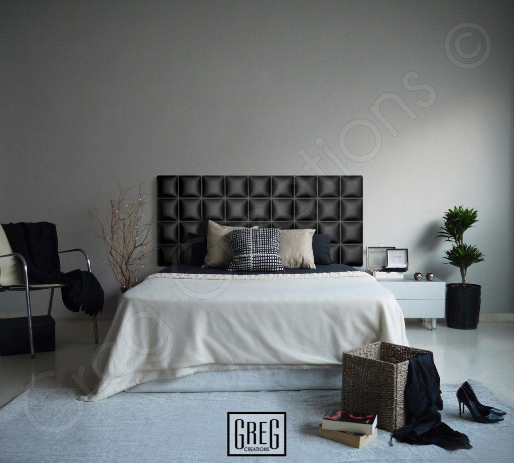 Dormitorio Con Cabecero Negro Tapizado En Polipiel Serie Chocolate  ~ Cabecero Polipiel Marron Chocolate