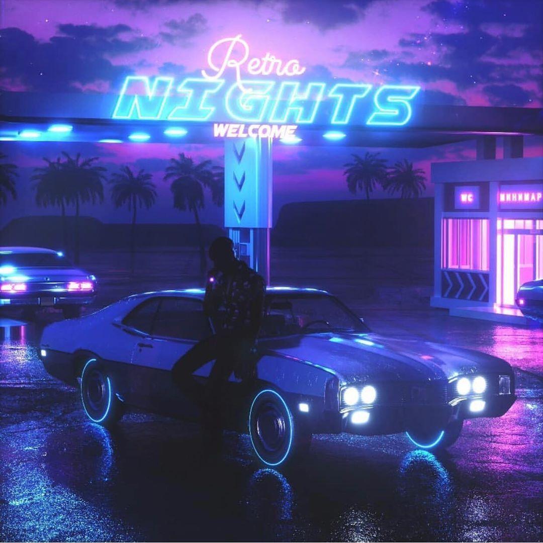 Retro Nights Car Futuristic Design Neon Lights New Retro