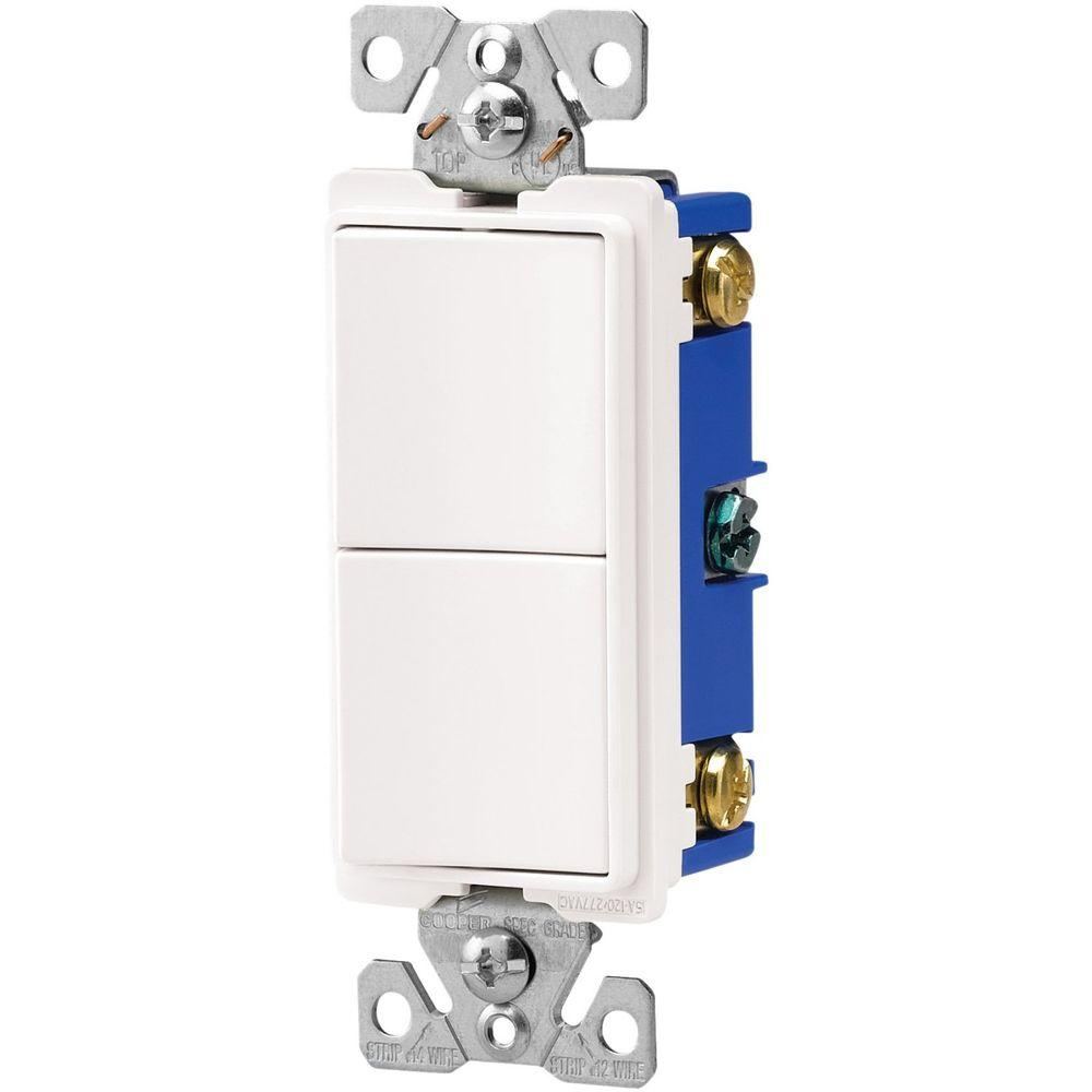 Eaton 15 Amp Two Single Pole Combination Decorator Light Switch White Light Switch Wiring Three Way Switch Gadget World