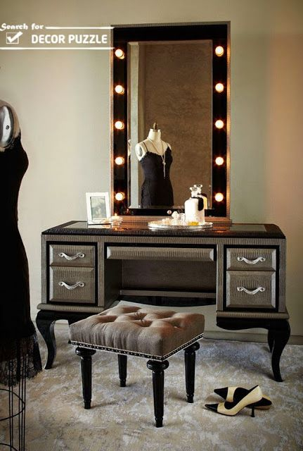 Luxury Gray Classic Dressing Table With Mirror Lights Home Design