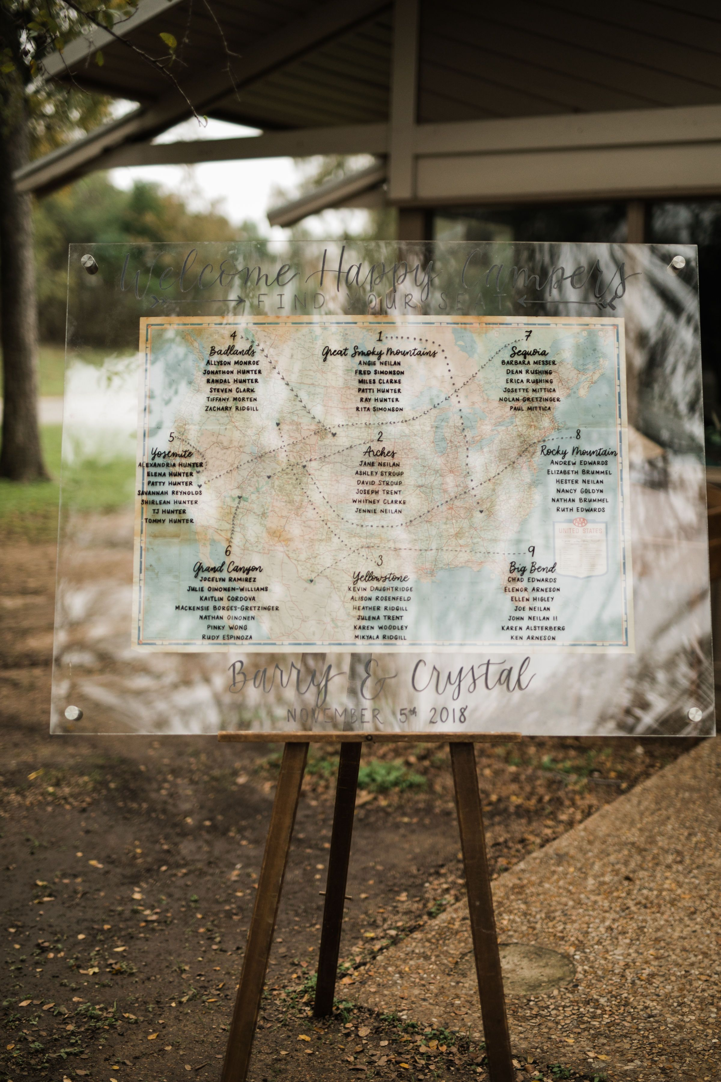 A Seating Chart With All Of The National Parks That Crystal And Barry Have Visited Bohowedding Campingwed Texas Wedding Planner Park Signage Wedding Planner