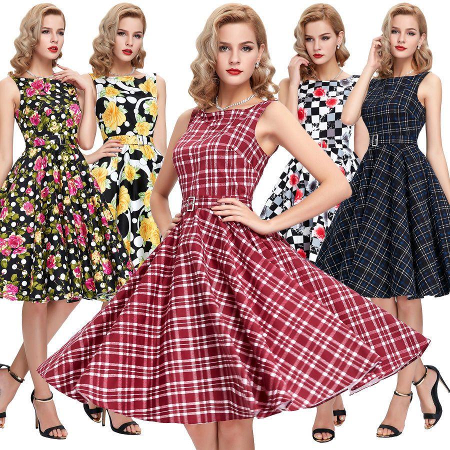 Mode Damen Kariert Retro 50er 60er Jahre Tanz Kleid Dirndl Gothic