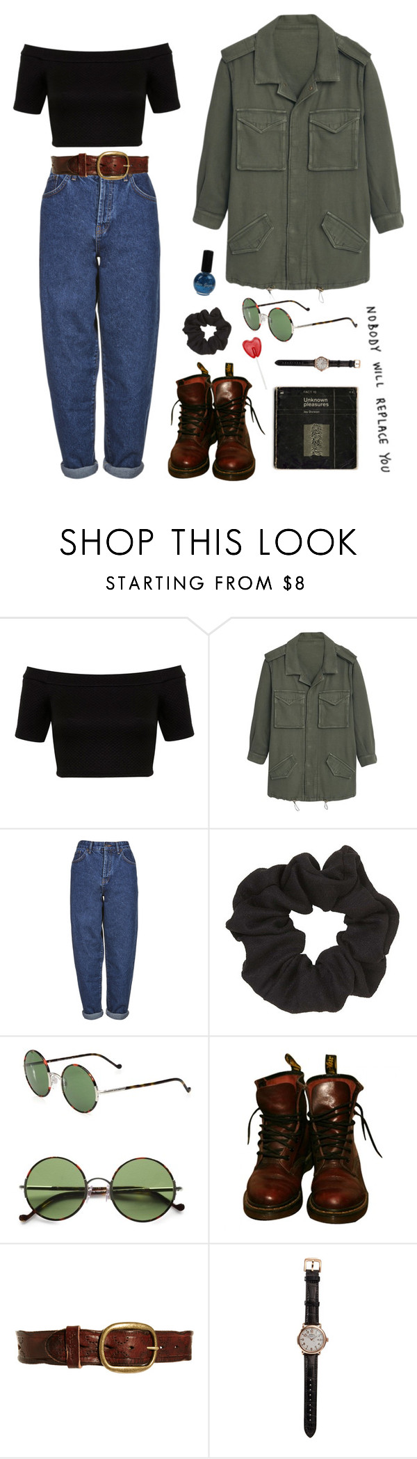 """""""Untitled #53"""" by marie-w-holm ❤ liked on Polyvore featuring Miss Selfridge, MANGO, Boutique, Topshop, Ralph Lauren, Dr. Martens, Pepe Jeans London and Shinola"""