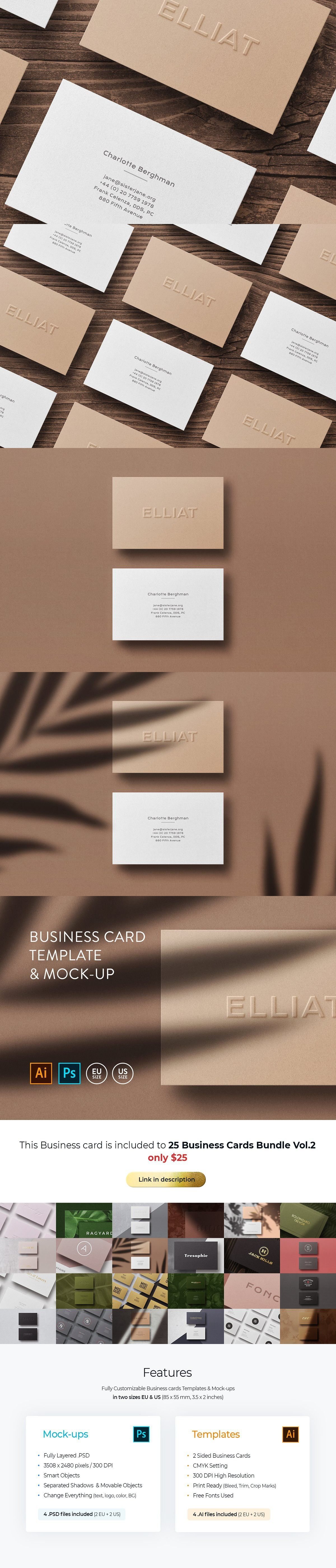 Business Card Template Mock Up Business Card Template Minimal Business Card Templates