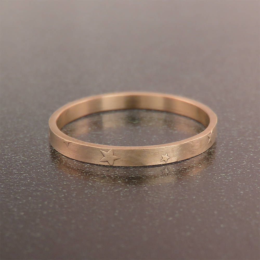 Wedding Ring Rose Gold Star Women S Band