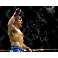 Urijah Faber Ultimate Fighting Championship Autographed 16'' x 20'' Horizontal Raising Arm Photograph with The California Kid Inscription
