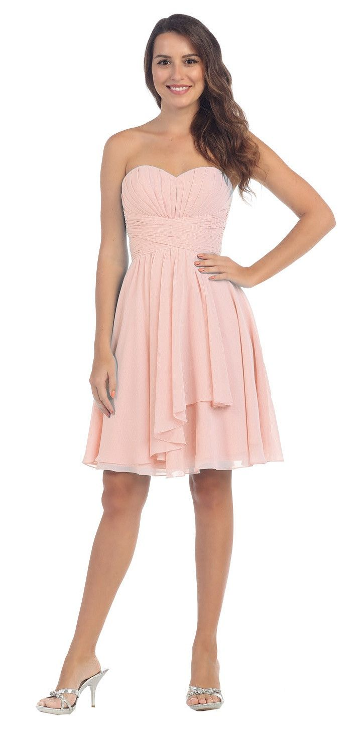 Starbox USA S6074 Sweetheart Pleated Bust Drape Skirt Blush Above ...