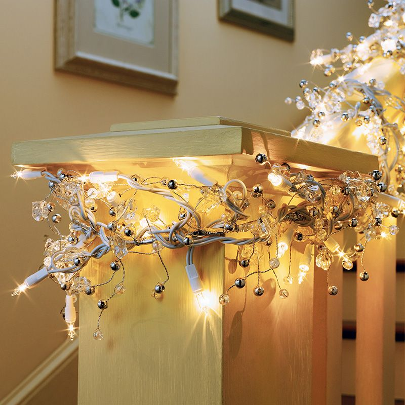 ge, guirnalda iluminada de gemas con 100 luces transparentes