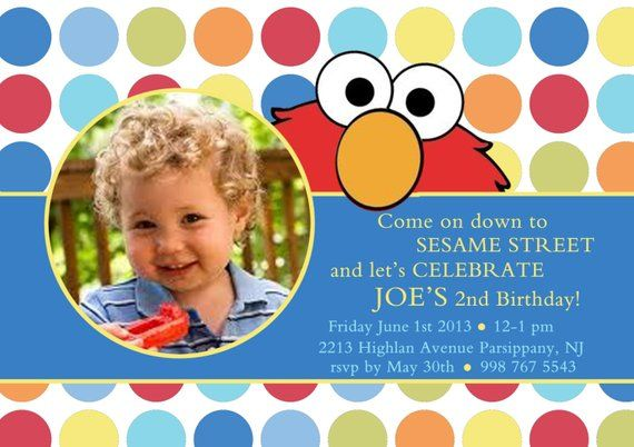 Elmo Birthday Invitation Boy Invite Sesame Street