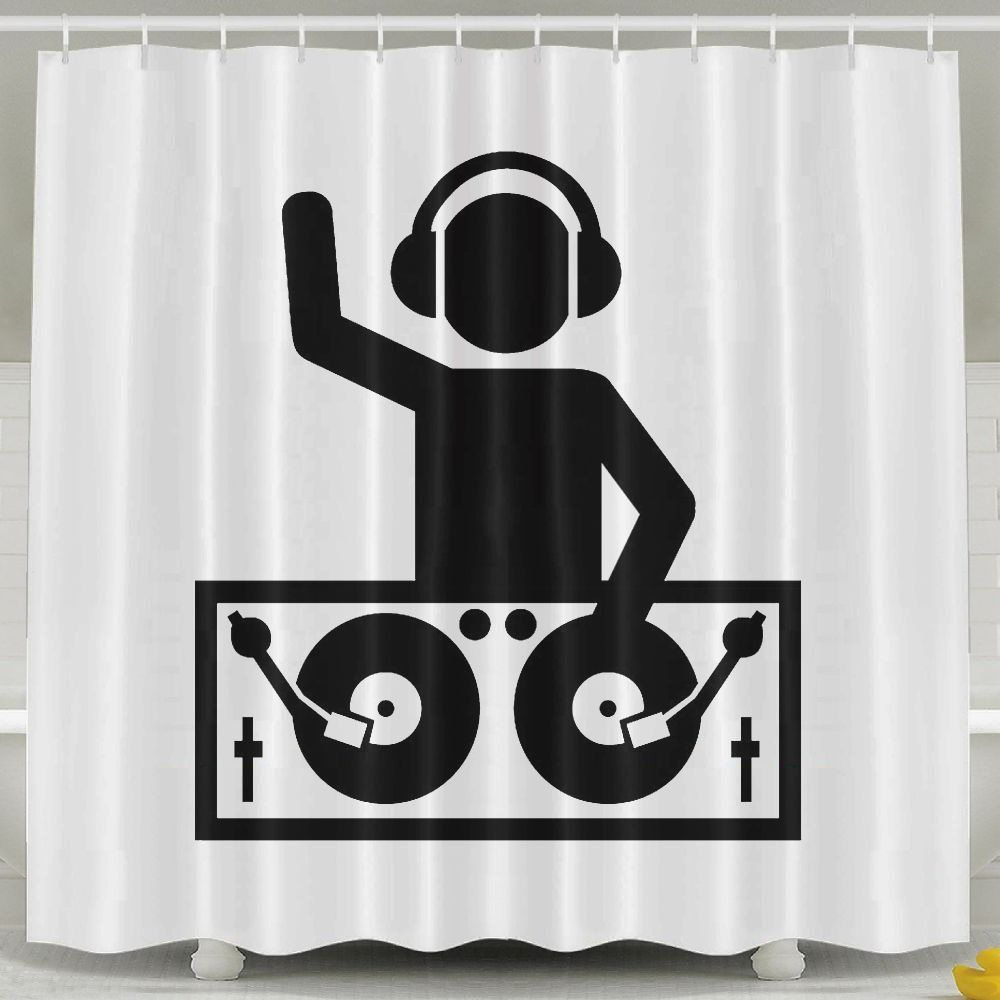 Bestsc White Shower Curtains Hip Hop Rap Disco Music Dj Bath