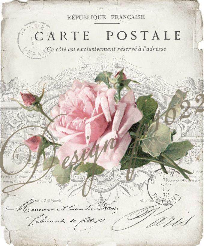 vintage rose carte postale digital collage p1022 pinterest digital collage. Black Bedroom Furniture Sets. Home Design Ideas