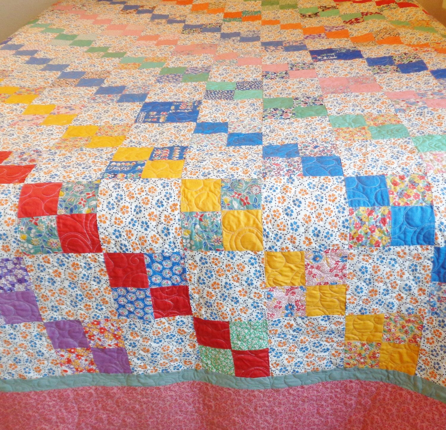 Quilt for sale queen 76 x 99 scrappy feedsack handmade in USA by ... : feedsack quilts for sale - Adamdwight.com