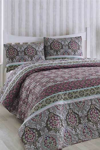 Lila Virágok kétszemélyes steppelt ágytakaró szett  c2fb38e796