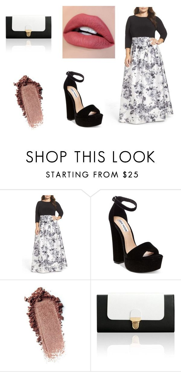 """""""Black and white, amazing night"""" by awesomeanimalover ❤ liked on Polyvore featuring Adrianna Papell, Steve Madden, Jurekka and plus size dresses"""