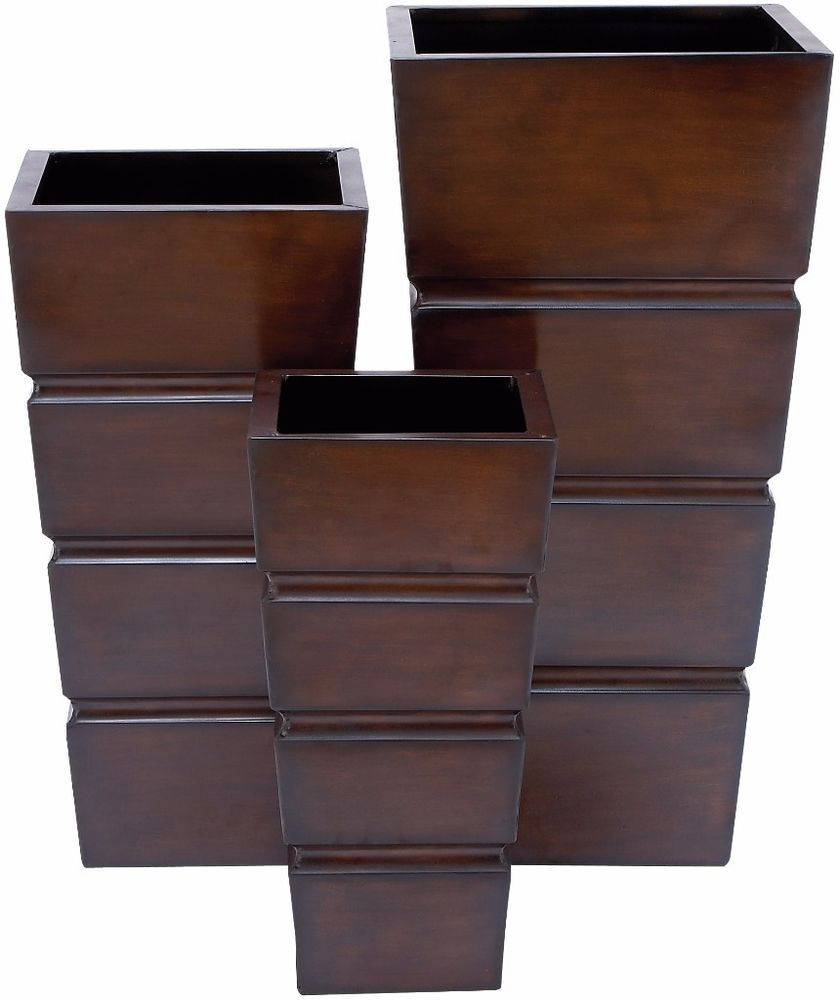 Set Of 3 Square Brown Iron Metal DecorativeStands Planters Outdoor Space Patio #stands #patio #planters #decor #outdoor #square #home