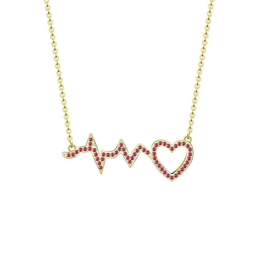 e40c8f90d Gold Color Collier Femme Cubic Zirconia ECG Heartbeat Pendant Necklaces  Stainless Steel Chain Heart Necklace For Women Jewelry. Yesterday's price:  US $3.80 ...