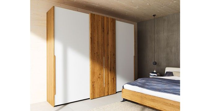 TEAM 7 Schrank nox aus Naturholz mit weißer Front aus Glas - schlafzimmerschrank erle massiv