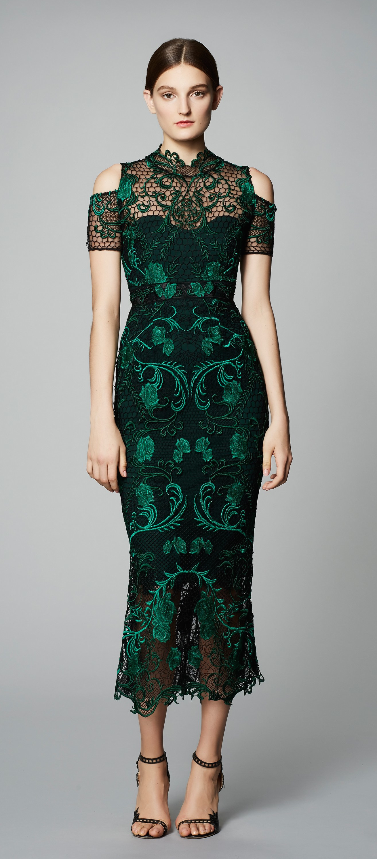 Marchesa notte green lace dress  Marchesa Notte PreFall  not my favorite of their designs color