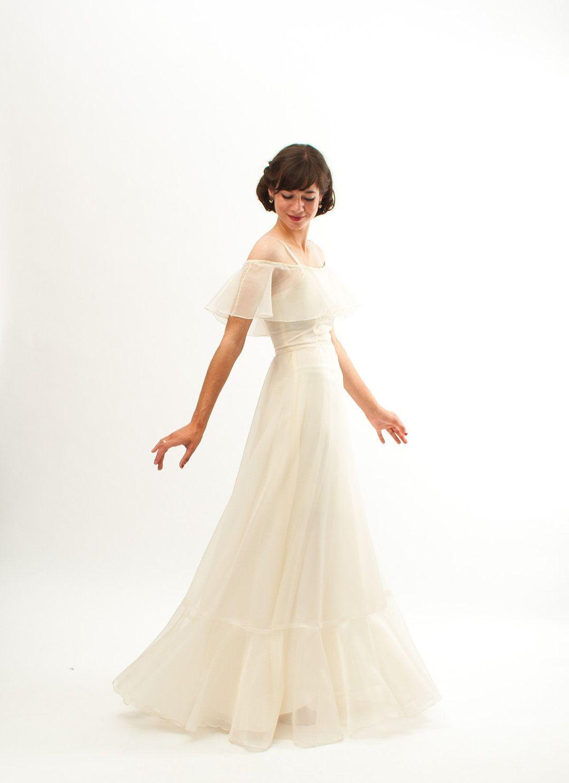 1970s wedding dress  Vintage s Wedding Dress  s Wedding Gown  Sheer Ivory